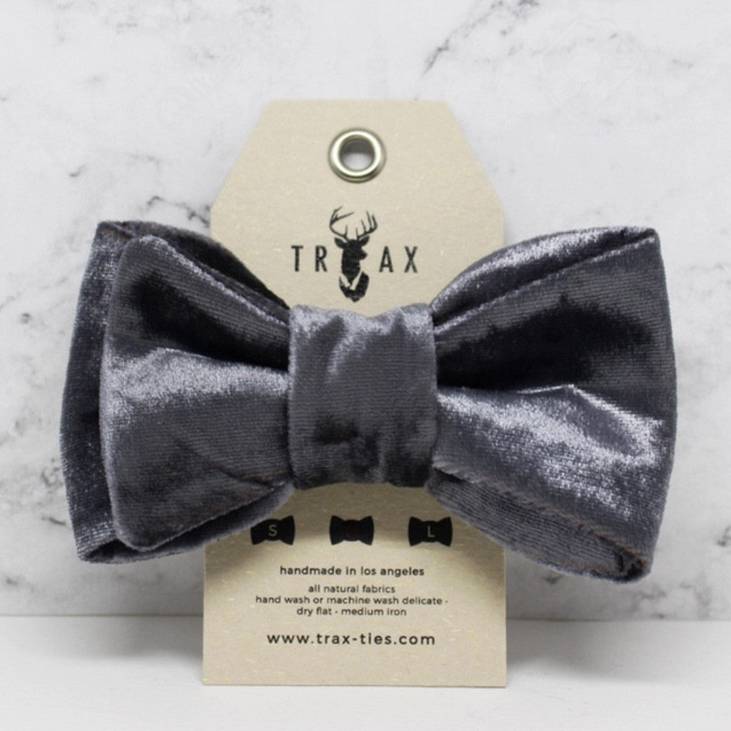 LUXE Signature Silver - Silk Velvet Bow Tie by TRAX TIES x LELE for @pawboutik