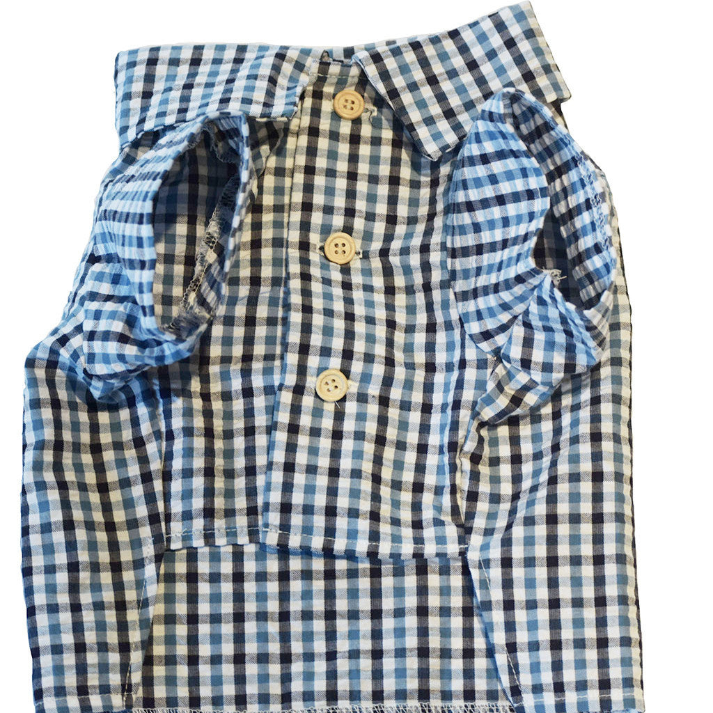Seersucker Plaid Shirt by Dog Threads | Blue Plaid Dog Shirt