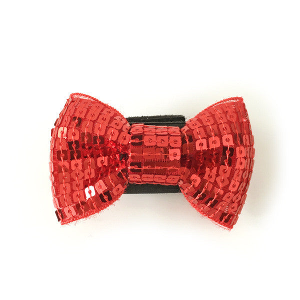 Red Sequin Collar Bow Tie by DOGO
