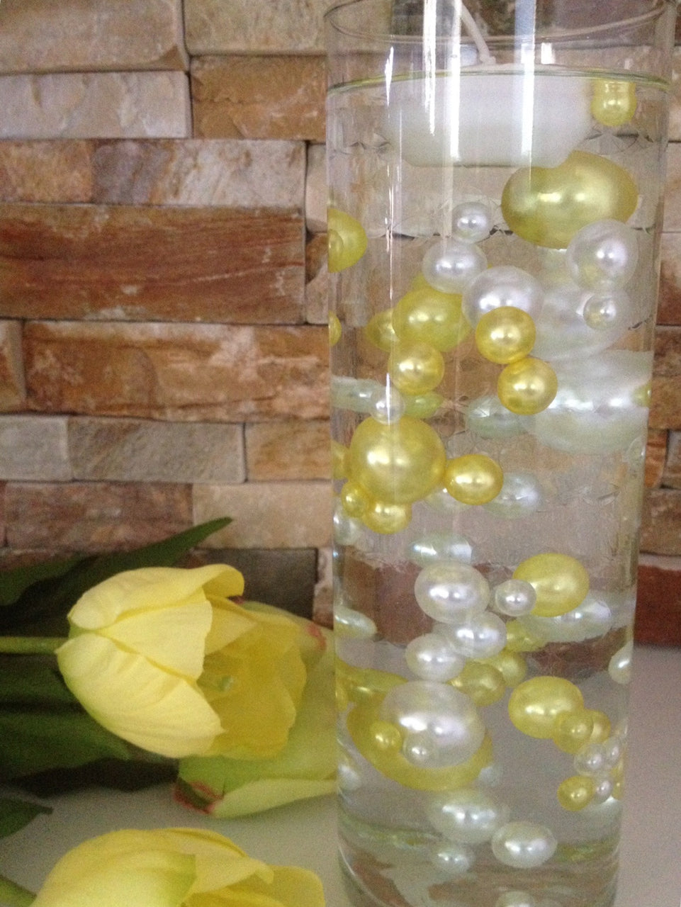Copy of 80 Yellow/White Pearls, Jumbo & Mix Size Pearls, No Hole Pearls For Vase Fillers, Crafts, DIY Floating Pearls