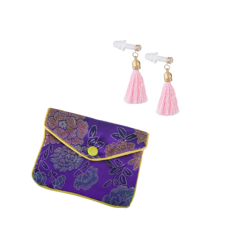 Pink Tassel Earplugs with Brocade Case