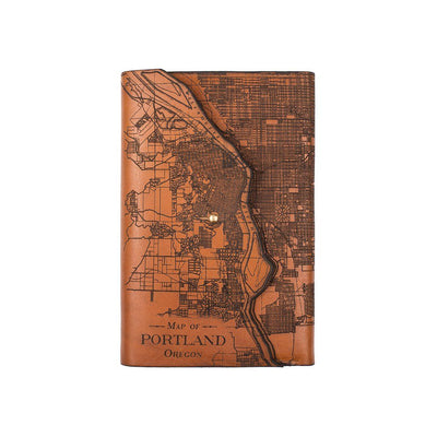 Portland City Journal Leather Cover Map Engraved