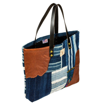 African Indigo Leather Patchwork Tote Tote WillLeatherGoods