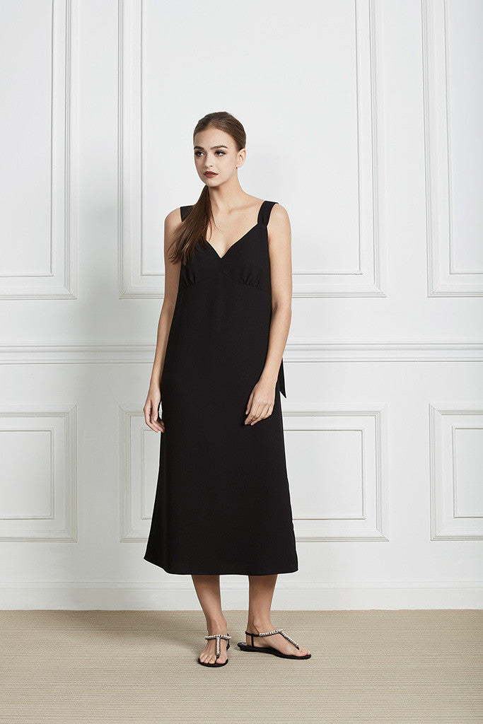 Black Slip midi dress with tie-knot straps