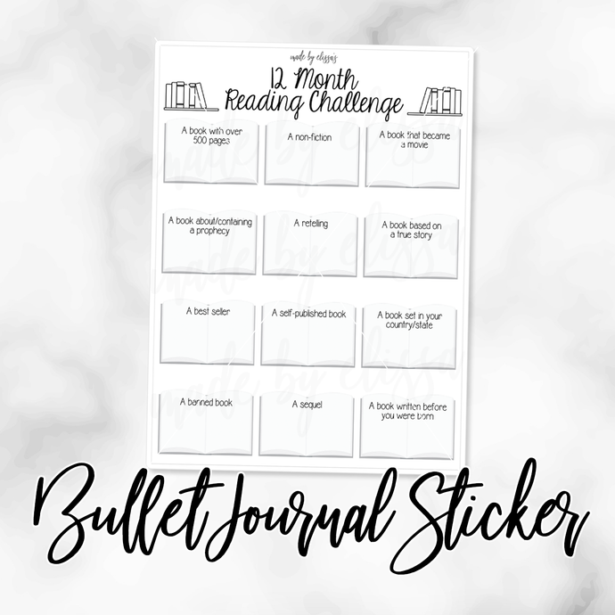 12 Month Reading Challenge Bullet Journal Sticker