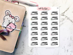 Library Book Due Planner Stickers
