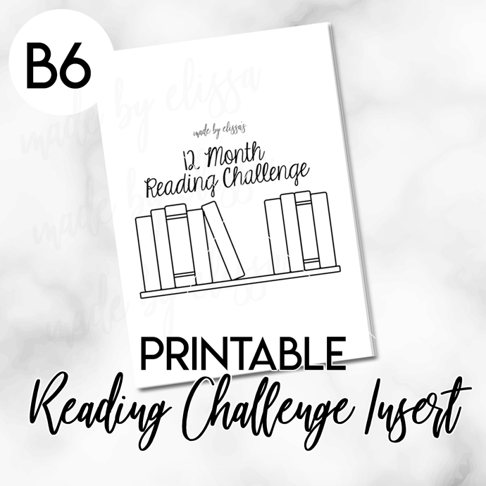PRINTABLE B6 Travelers Notebook - 12 Month Reading Challenge Planning Insert