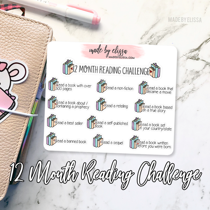 12 Month Reading Challenge Planner Stickers