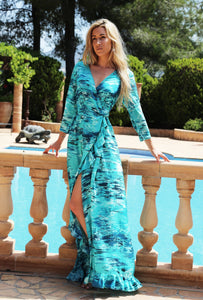 Caribbean Ruffle Wrap Dress