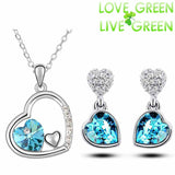 White Gold Plated Crystal Double Heart Necklace Earrings Jewelry Set