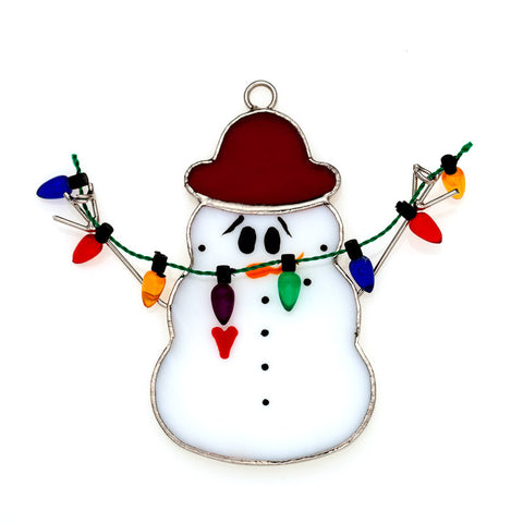 Glass Cover- Christmas Light Snowman
