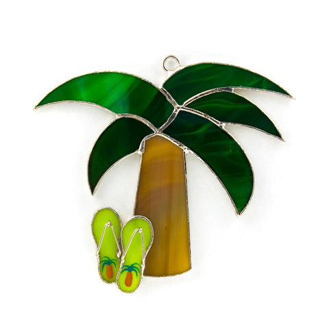 Glass Cover- Palm Tree with Flip Flops