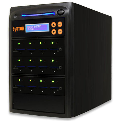 SySTOR 1:11 Multiple SD/microSD Drive Memory Card Reader Duplicator / Sanitizer - (SYS-SD-11)