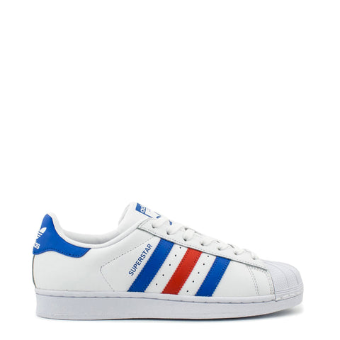 Adidas - Superstar Shoes -  White/Blue&Red Stripes - Carbon Crown Apparel