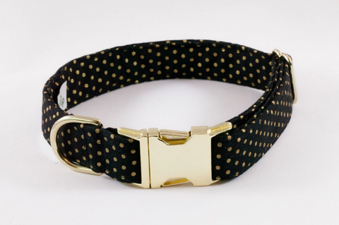 Black and Gold Polka Dot Dog Collar