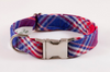 Red White and Blue Americana Plaid Bow Tie Dog Collar