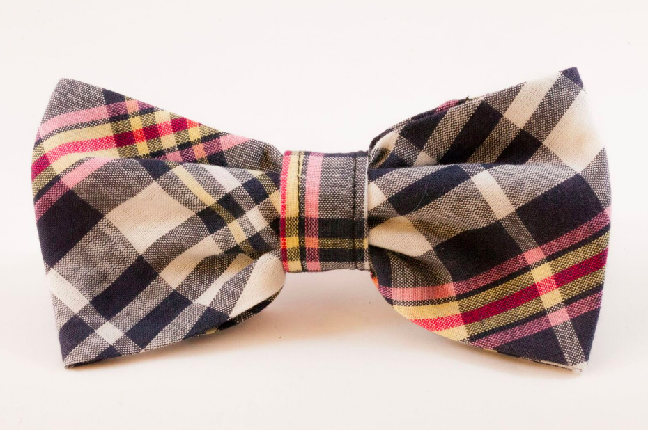 Navy and Pink Madras Dog Bow Tie