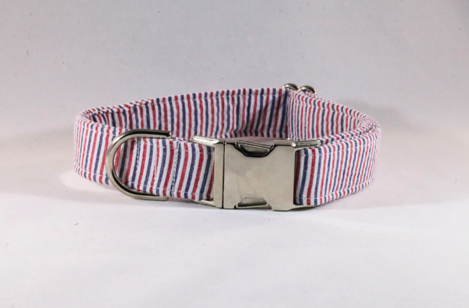 Preppy Red White and Blue Patriotic Pup Seersucker Dog Collar