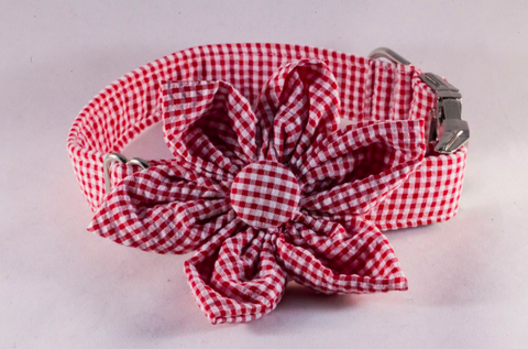 Preppy Red Gingham Girl Dog Flower Bow Tie Collar