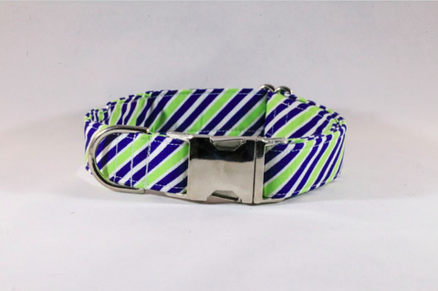 Navy Blue and Lime Striped Dog Collar