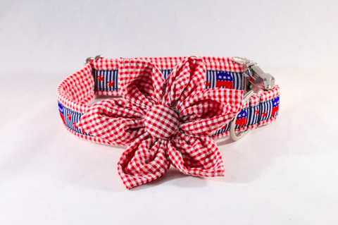 Repuplican Gingham Girl Dog Bow Tie Collar