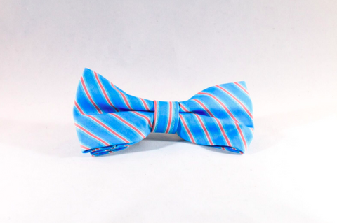 Preppy Aqua and Coral Seaside Stripes Dog Bow Tie