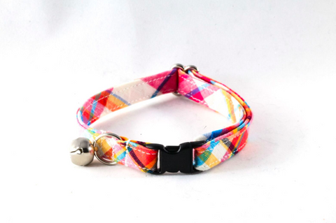 Preppy Pink and Orange Madras Kitty Cat Collar