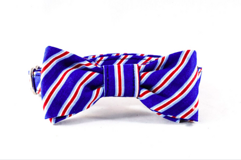 Red White and Blue Patriotic Stripes Kitty Cat Bow Tie Collar