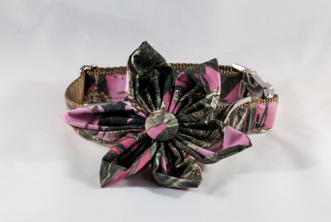 The Sporting Pup Pink Camo Girl Dog Flower Bow Tie Collar--Brown
