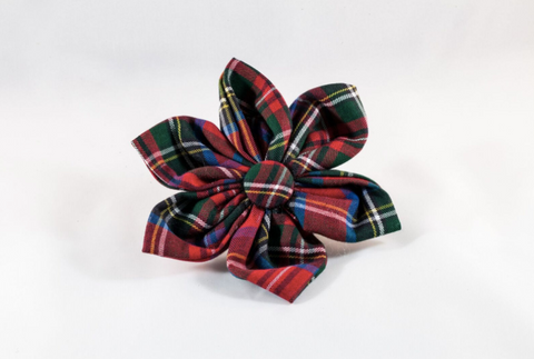 Red Scottish Tartan Plaid Girl Dog Flower Bow Tie