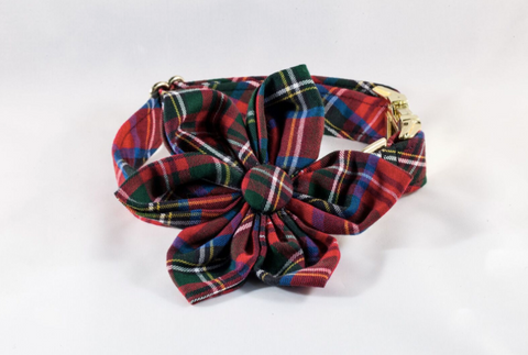 Red Scottish Tartan Plaid Girl Dog Flower Bow Tie Collar