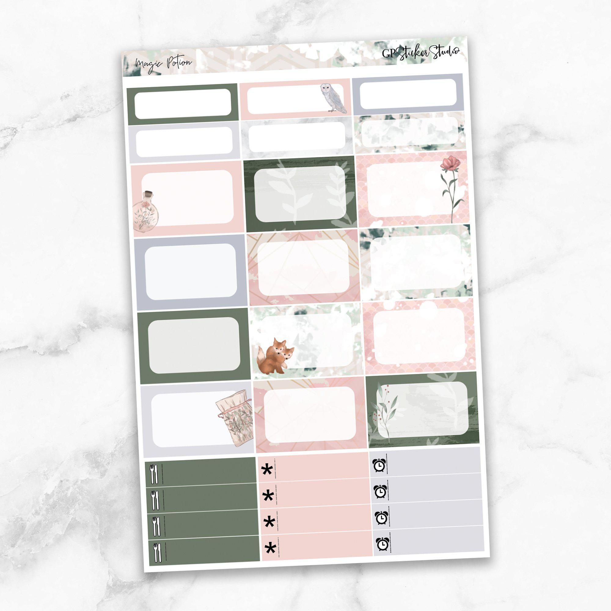 MAGIC POTION Half Boxes Planner Stickers-The GP Studio
