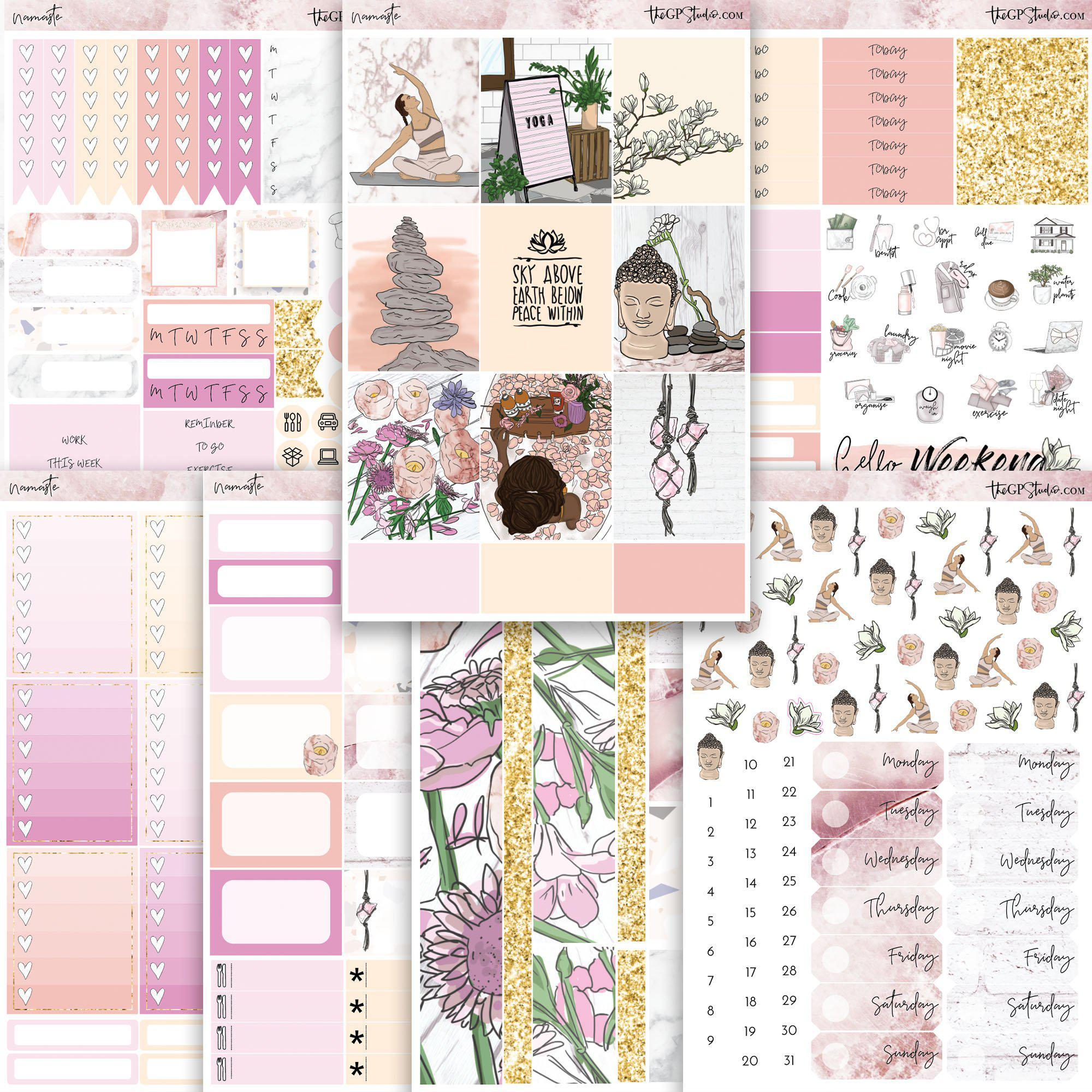 NAMASTE Planner Sticker Kit-The GP Studio