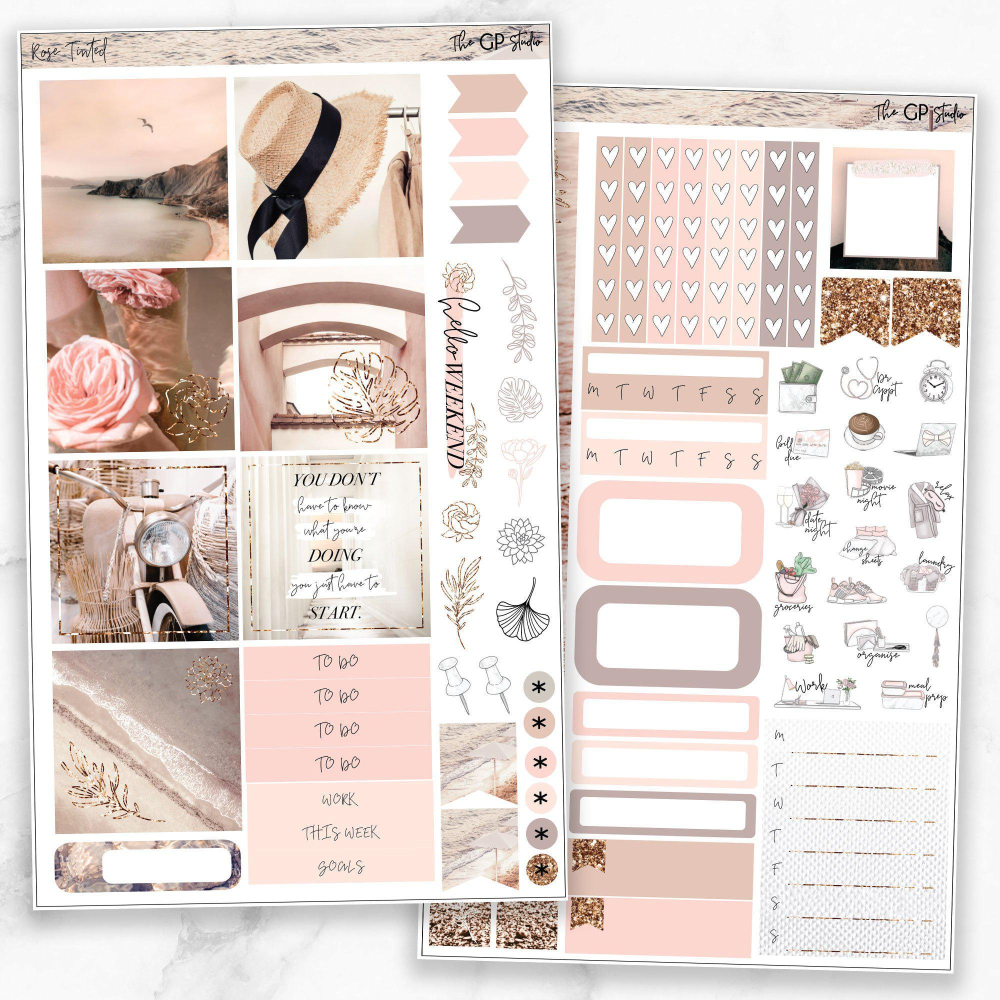 ROSE TINTED Mini Size Planner Sticker Kit-The GP Studio