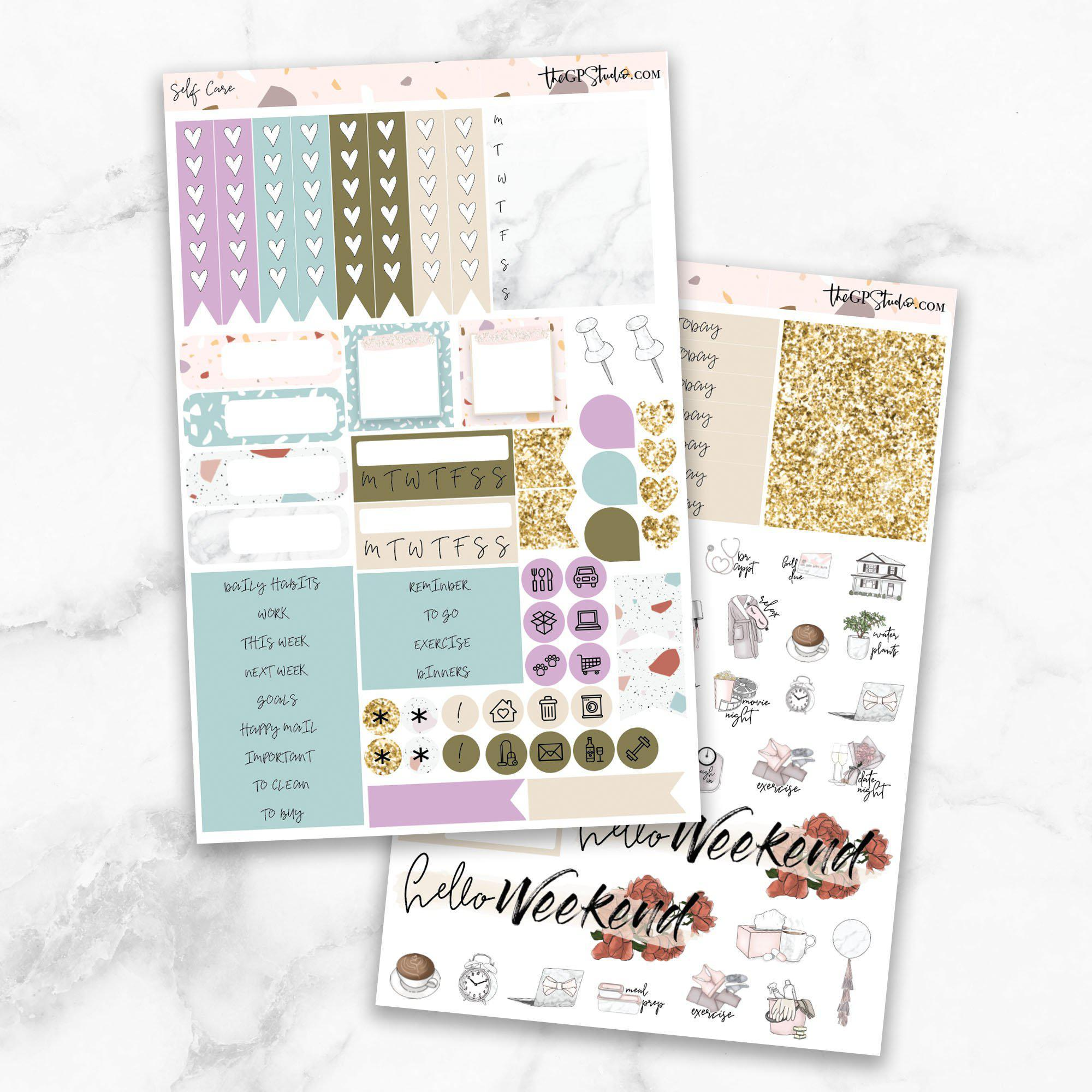 SELF CARE Functional Planner Sticker Kit-The GP Studio