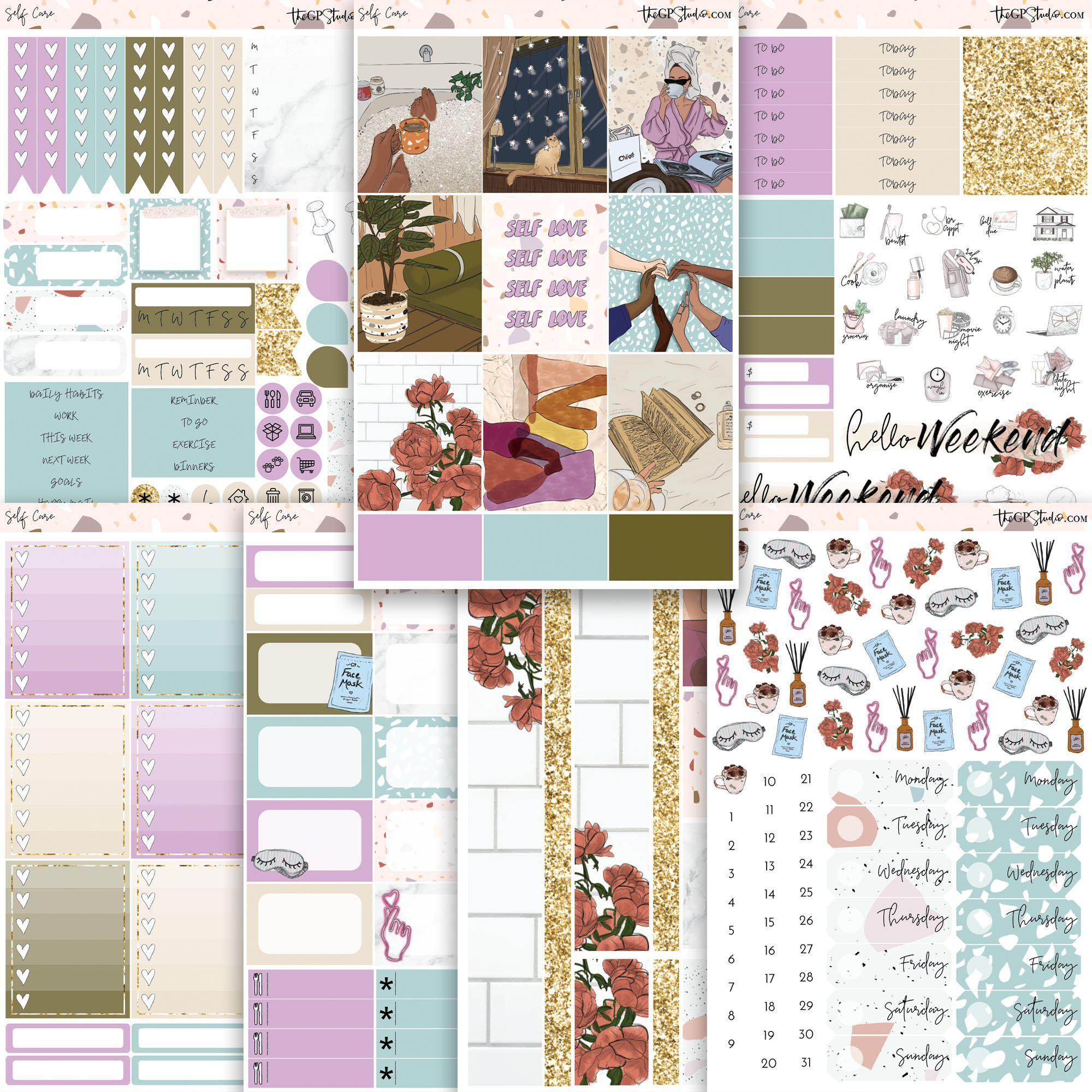 SELF CARE Planner Sticker Kit-The GP Studio