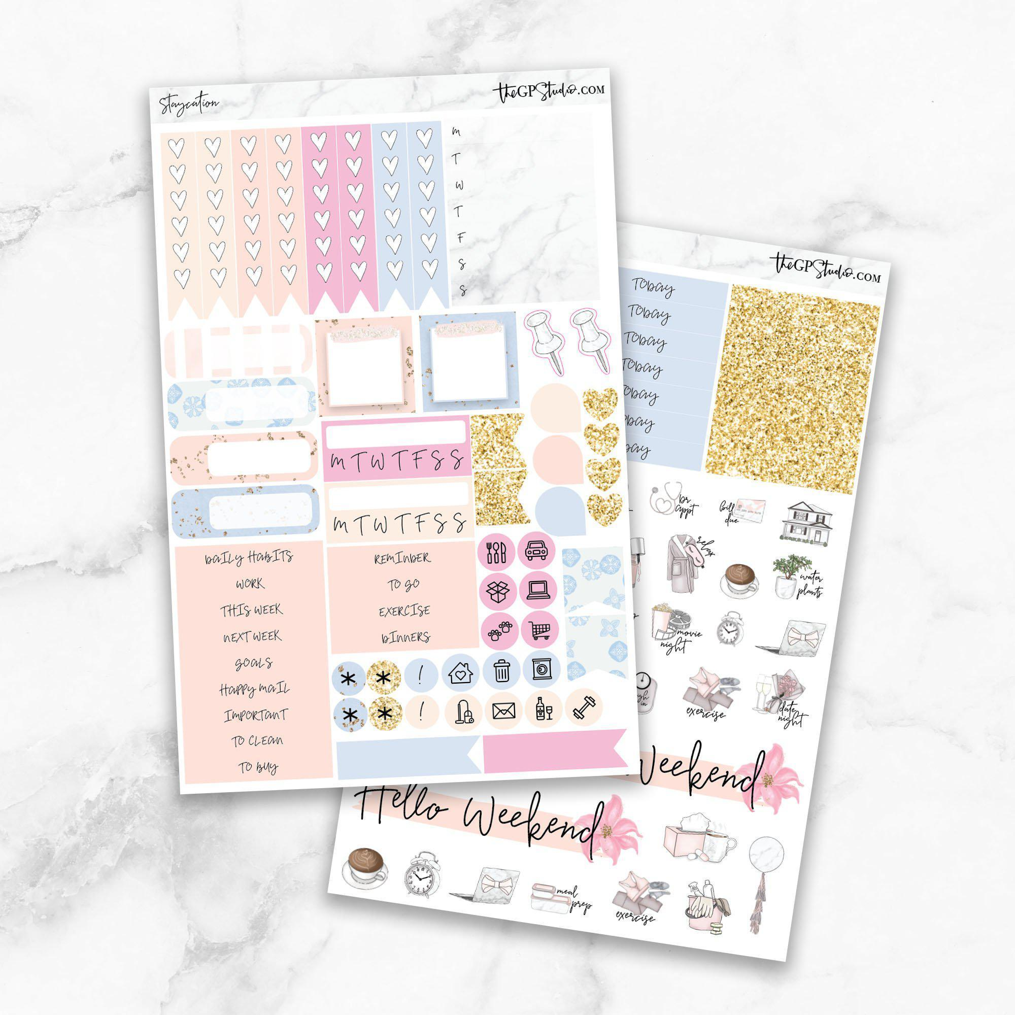 STAYCATION Functional Planner Sticker Kit-The GP Studio