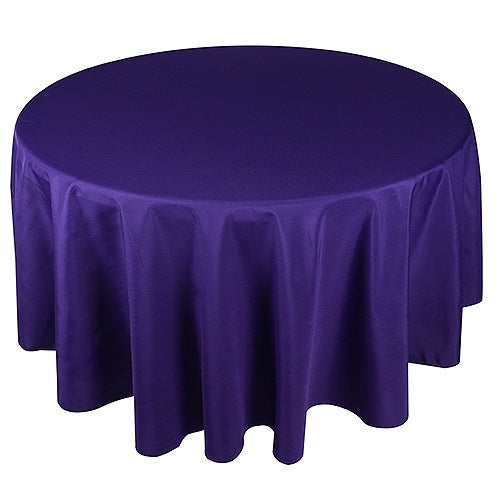PURPLE 120 Inch POLYESTER ROUND Tablecloths