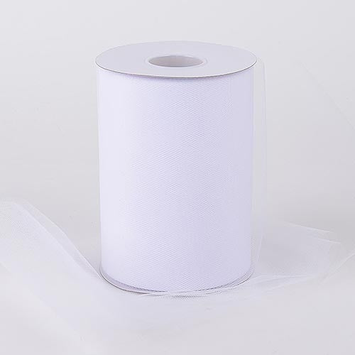 WHITE Premium Quality Nylon 6 Inch Tulle Roll 100 Yards
