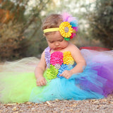 Full Rainbow Tutu Dress Crochet Baby Tulle Dress with Headband 1st Birthday