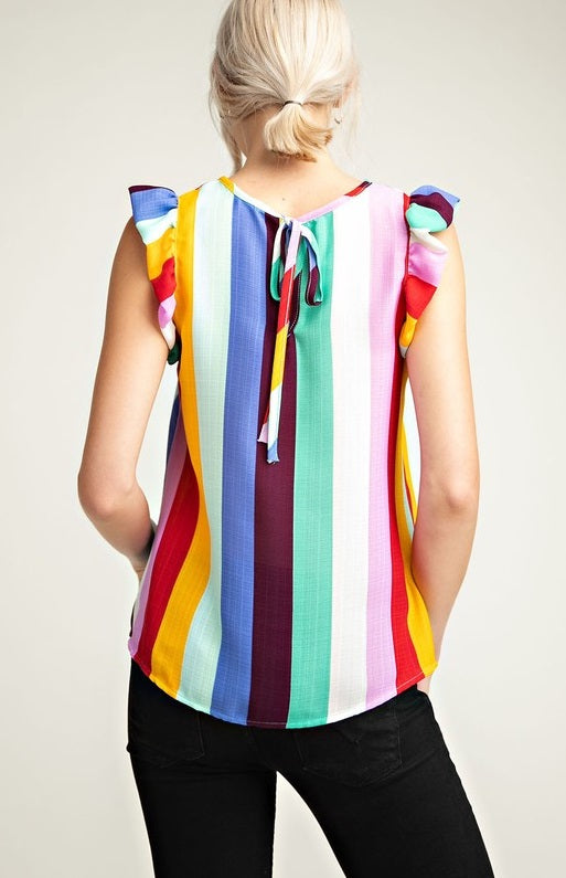Rainbow Ruffled Top