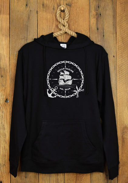 Black Boat Chain Hoodie by Hello Sailor