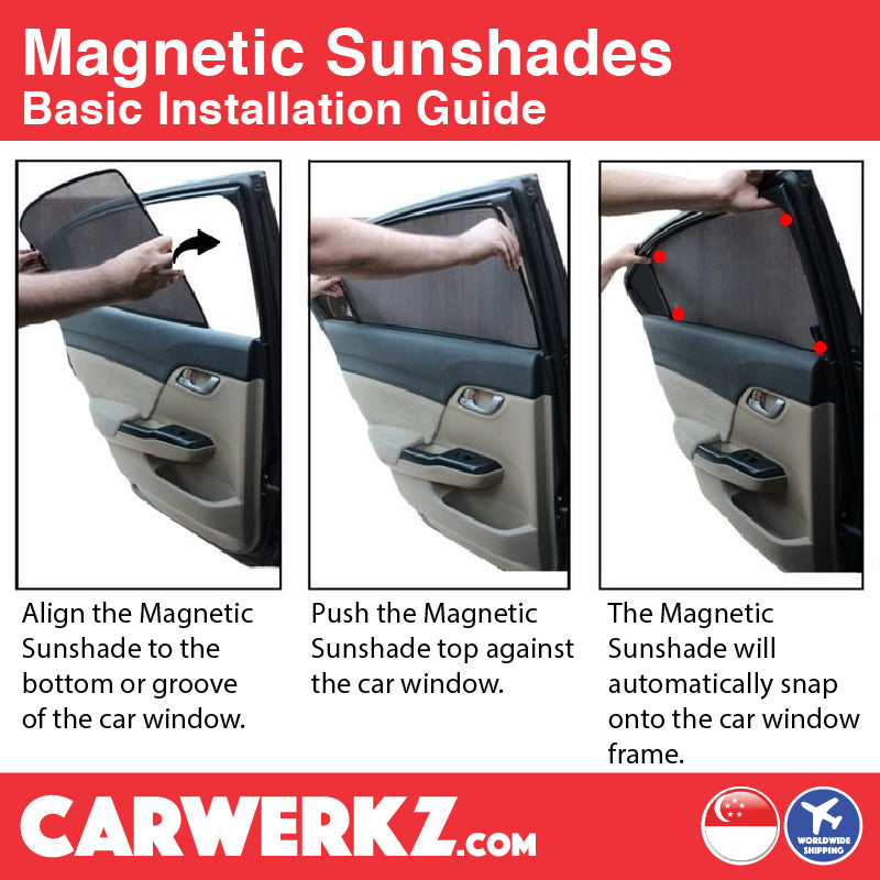 Seat Leon 2012 2013 2014 2015 2016 2017 2018 2019 3rd Generation (MK3 Typ 5F) Spain Hatchback Compact Customised Car Window Magnetic Sunshades 6 Pieces basic installation instruction - carwerkz sg my au fr it mc