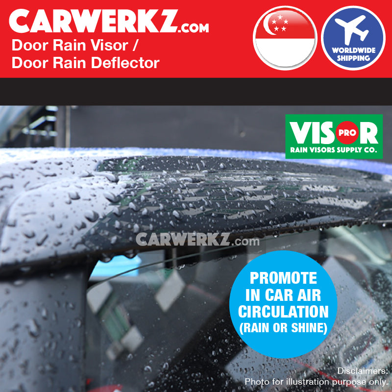 Toyota Wish 2009-2019 2nd Generation (AE20) Door Visors Rain Visors Rain Deflectors Rain Guards prevent rain drop water flow into car window - CarWerkz