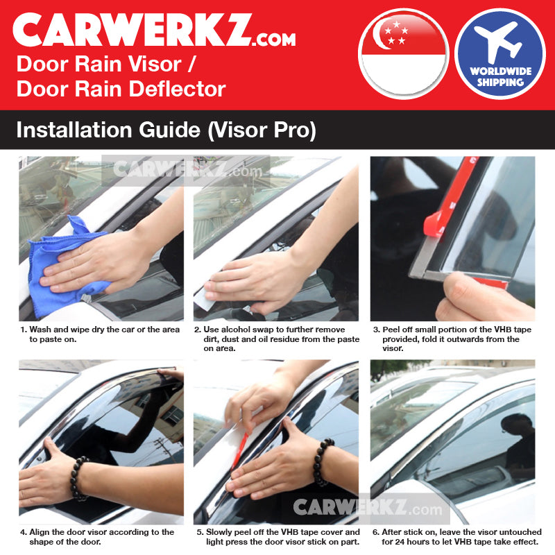 VISOR PRO Honda Civic 2014-2019 10th Generation (FC) Mugen Style Door Visors Rain Visors Rain Deflector Rain Guard installation instruction - CarWerkz