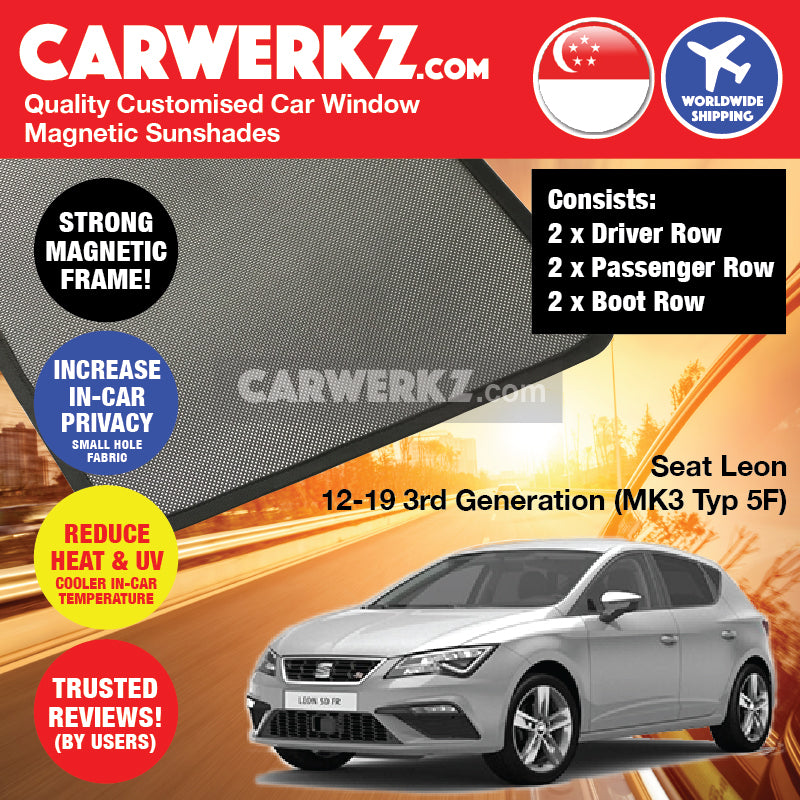 Seat Leon 2012 2013 2014 2015 2016 2017 2018 2019 3rd Generation (MK3 Typ 5F) Spain Hatchback Compact Customised Car Window Magnetic Sunshades 6 Pieces - carwerkz sg my au fr it mc