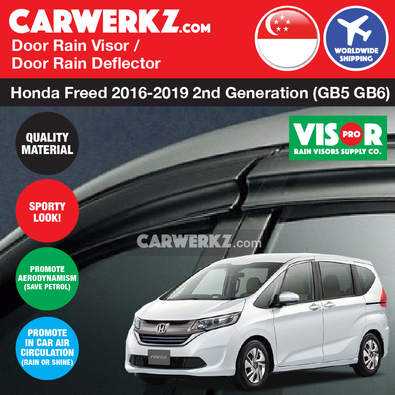 VISOR PRO Honda Freed 2016-2019 2nd Generation (GB5 GB6) Mugen Style Door Visors Rain Visors Rain Deflector Rain Guard