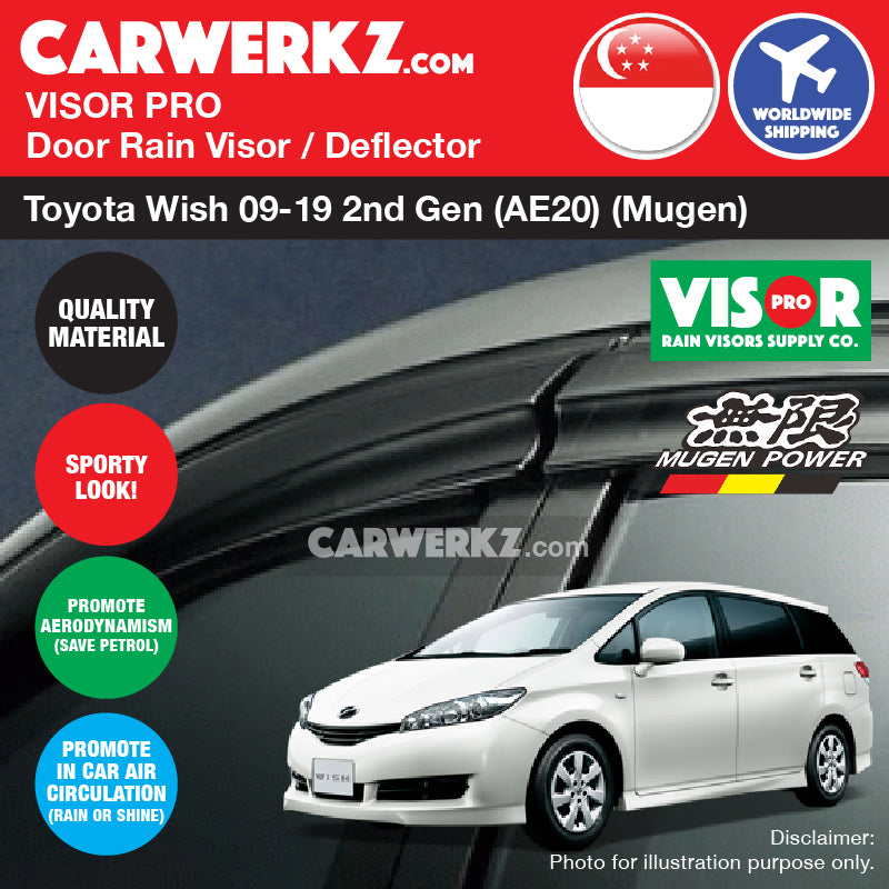 Toyota Wish 2009-2019 2nd Generation (AE20) Door Visors Rain Visors Rain Deflectors Rain Guards - CarWerkz