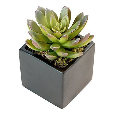 Faux Potted Succulent Aloe Plant in Copper Rose Gold Metallic Vase