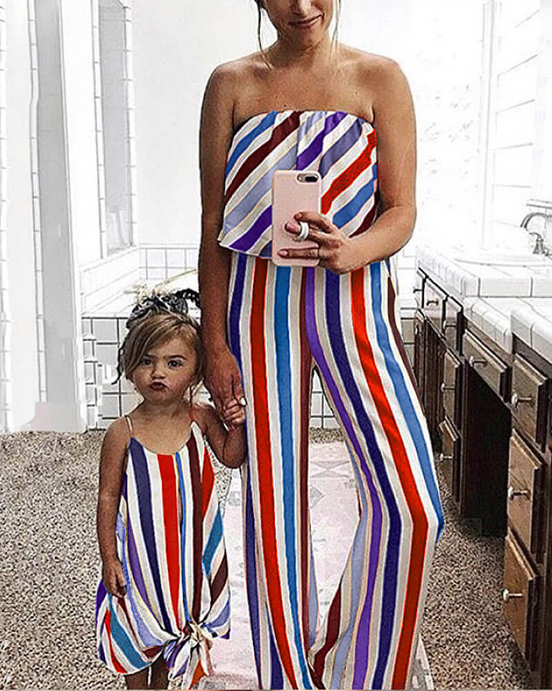 Multicoloured Striped Matching Romper